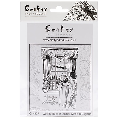 Crafty Individuals 60 mm x 95 mm Unmounted Rubber Stamp, Waiting for Santa