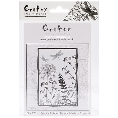 Crafty Individuals 65 mm x 95 mm Unmounted Rubber Stamp, Dancing Dragonflies