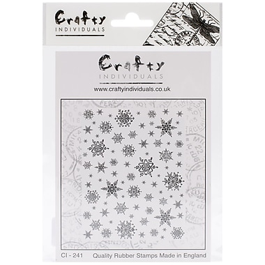 Crafty Individuals 70 mm x 80 mm Unmounted Rubber Stamp, Snowflakes Background