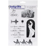 "IndigoBlu 9 1/4"" x 6 1/4"" Mounted Cling Rubber Stamp, Joy To The World"
