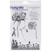 "IndigoBlu 9 1/4"" x 6 1/4"" Mounted Cling Rubber Stamp, Poppy Meadow"