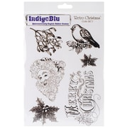 "IndigoBlu 9 1/4"" x 6 1/4"" Mounted Cling Rubber Stamp, Retro Christmas"
