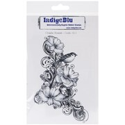 "IndigoBlu 7"" x 4 3/4"" Mounted Cling Rubber Stamp, Clematis Flourish"
