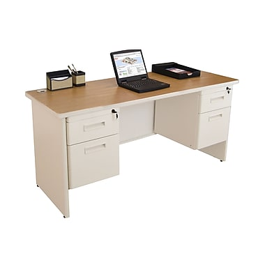 Marvel® Pronto® 60in. x 24in. Double Pedestal Credenza Desk; Oak/Pumice