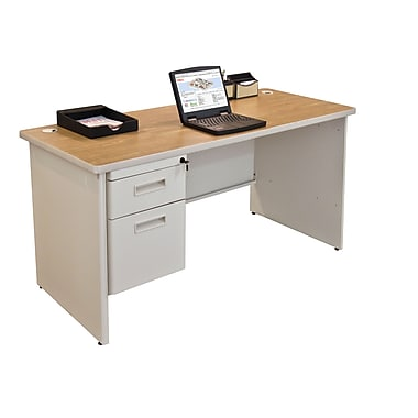 Marvel® Pronto® 60in. x 24in. Single Pedestal Credenza Desk; Oak/Pumice