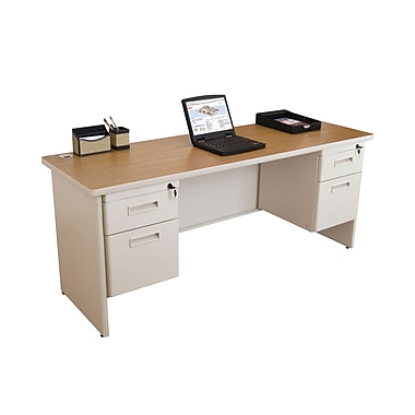 Marvel® Pronto® 72in. x 24in. Double Pedestal Credenza Desk; Oak/Pumice