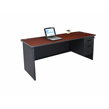 Marvel® Pronto® 72in. x 24in. Single Pedestal Credenza Desk; Mahogany/Dark Neutral