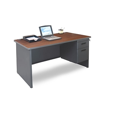 Marvel® Pronto® 48in. x 30in. Single Pedestal Desk; Mahogany/Dark Neutral