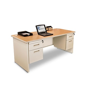 Marvel® Pronto® 60in. x 30in. Double Pedestal Desk; Oak/Pumice