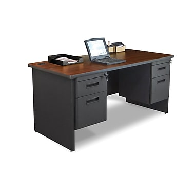 Marvel® Pronto® 60in. x 30in. Double Pedestal Desk; Mahogany/Dark Neutral