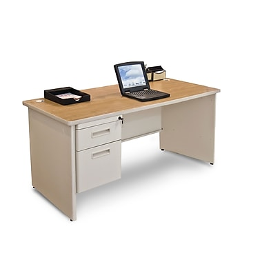 Marvel® Pronto® 60in. x 30in. Single Pedestal Desk; Oak/Pumice