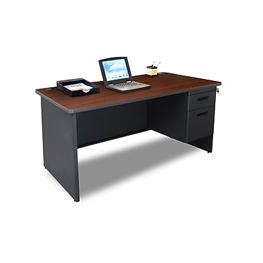 Marvel® Pronto® 60in. x 30in. Single Pedestal Desk; Mahogany/Dark Neutral