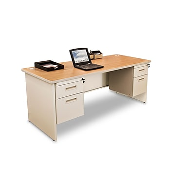 Marvel® Pronto® 66in. x 30in. Double Pedestal Desk; Oak/Pumice