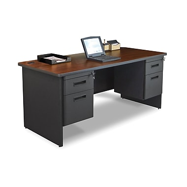 Marvel® Pronto® 66in. x 30in. Double Pedestal Desk; Mahogany/Dark Neutral