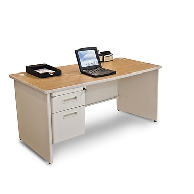 Marvel® Pronto® 66in. x 30in. Single Pedestal Desk; Oak/Pumice