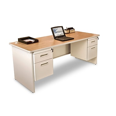 Marvel® Pronto® 72in. x 30in. Double Pedestal Desk; Oak/Pumice