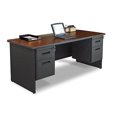 Marvel® Pronto® 72in. x 30in. Double Pedestal Desk; Mahogany/Dark Neutral