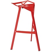 Modway Launch Aluminum Stacking Bar Stool, Red