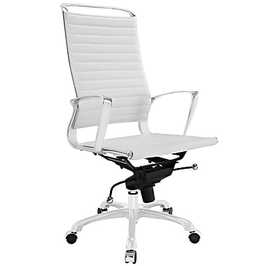 Modway Tempo Ribbed Vinyl High Back Office Chair, White