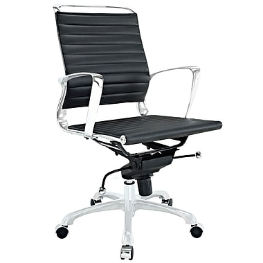Modway Tempo Ribbed Vinyl Mid Back Office Chair, Black