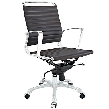 Modway Tempo Ribbed Vinyl Mid Back Office Chair, Brown