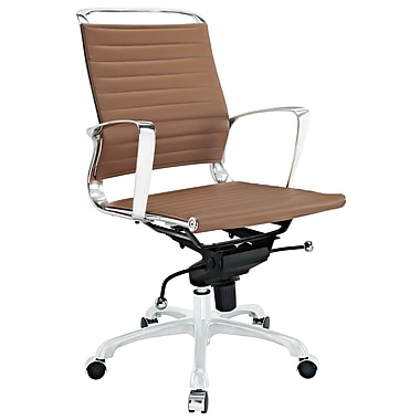 Modway Tempo Ribbed Vinyl Mid Back Office Chair, Tan