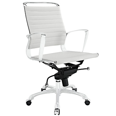 Modway Tempo Ribbed Vinyl Mid Back Office Chair, White