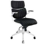 Modway Escape Leatherette Mid Back Office Chair, Black
