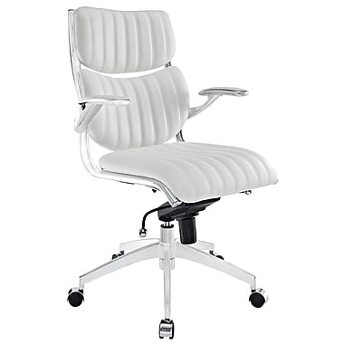 Modway Escape Leatherette Mid Back Office Chair, White