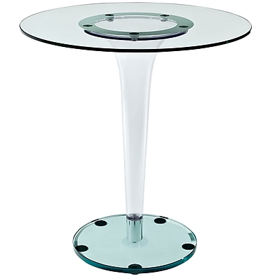 """""Modway 29 1/2"""""""" x 27 1/2"""""""" Round Tempered Glass Gossamer Dining Table, Clear"""""" 975566"