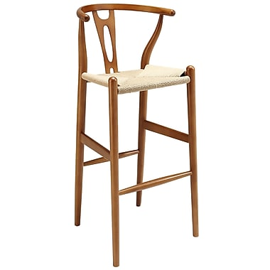 Modway Hourglass Paper Rope Bar Stool, Walnut