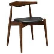 Modway Stalwart Wood/Vinyl Upholstered Foam Cushion Dining Side Chair, Dark Walnut Black