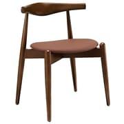Modway Stalwart Wood/Vinyl Upholstered Foam Cushion Dining Side Chair, Dark Walnut Tan