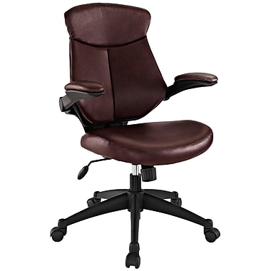 Modway EEI-1103-BRN Stealth Leatherette Mid-Back Executive Chair with Adjustable Arms, Brown