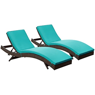 Modway Peer Rattan Weave Wicker Chaise Set, Brown/Turquoise, 2/Pack