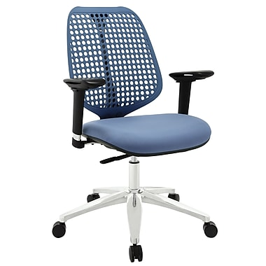 Modway Reverb Molded Padded Foam Mid Back Office Chair With Adjustable Armrests, Blue