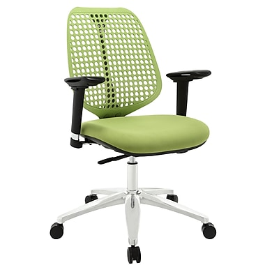 Modway Reverb Molded Padded Foam Mid Back Office Chair With Adjustable Armrests, Green
