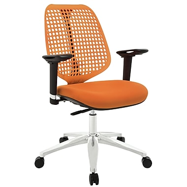 Modway Reverb Molded Padded Foam Mid Back Office Chair With Adjustable Armrests, Orange