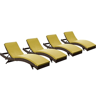 Modway Peer Rattan Weave Wicker Chaise, Brown/Peridot, 4/Pack