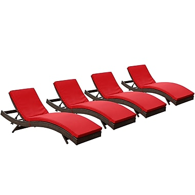 Modway Peer Rattan Weave Wicker Chaise, Brown/Red, 4/Pack