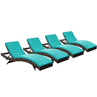 Modway Peer Rattan Weave Wicker Chaise, Brown/Turquoise, 4/Pack