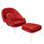 Modway Leather W Lounge Chair, Red