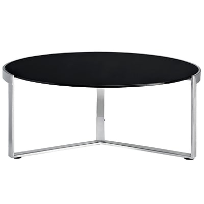 """""Modway 13 1/2"""""""" x 35 1/2""""""""x 35 1/2"""""""" Tempered Glass Disk Coffee Side Table, Black"""""" 975350"