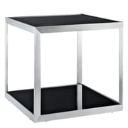 "Modway 21 1/2"" x 23 1/2""x 23 1/2"" Tempered Glass Open Box Side Table, Black"