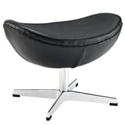 Modway Glove Genuine Leather Ottoman, Black