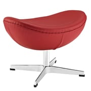 Modway Glove Genuine Leather Ottoman, Red