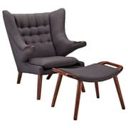 Modway Bear Foam Padded Woolen Lounge Chair, Gray