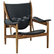 Modway Warrior Padded Leather Lounge Chair, Black