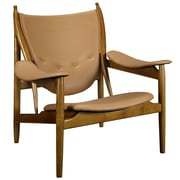 Modway Warrior Padded Leather Lounge Chair, Tan