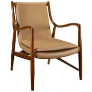 Modway Makeshift Padded Leather Lounge Chair, Tan